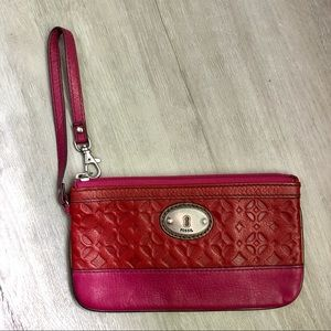 Red and Pink Fossil Leather Wristlet • EUC